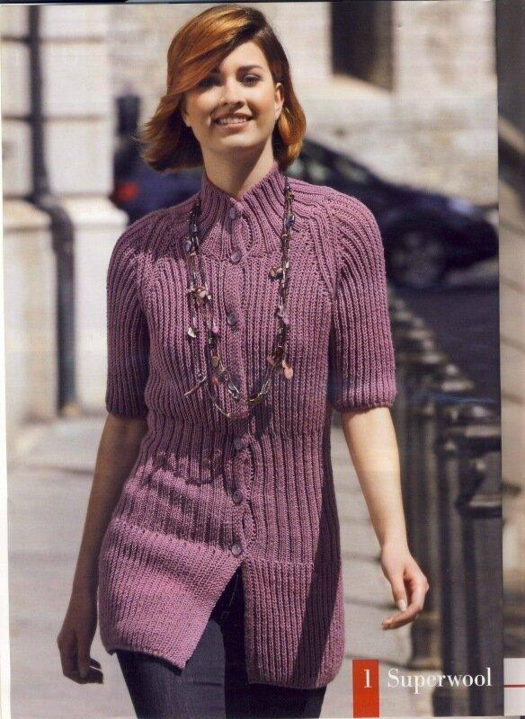 Вязаный спицами кардиган из фиолетовой пряжи(модель из журнала Susanna 2 2011 года) .