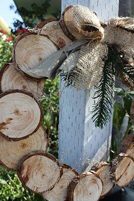 мк венок из спилов дерева