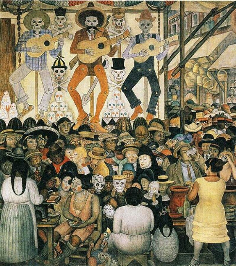 The Day of the Dead. 1924. Fresco. Ministry of Education, Mexico City,Diego Rivera.