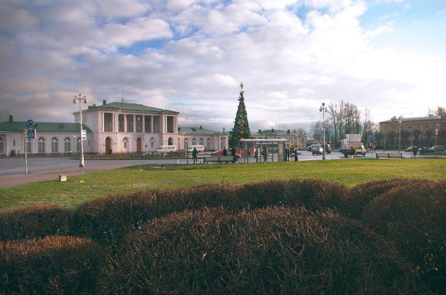 Город Пушкин, вокзал, вокзальная площадь