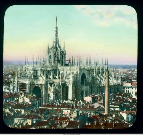 Milan. Cathedral (Duomo): aerial view over the rooftops of Milan