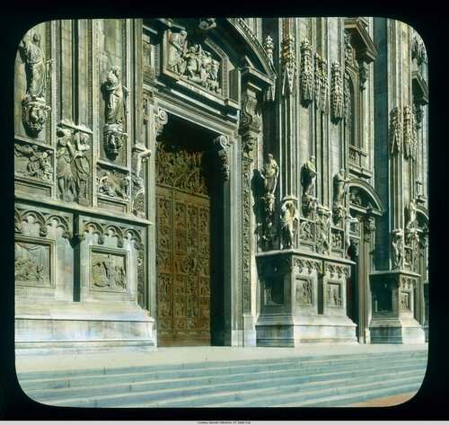Milan. Cathedral (Duomo): exterior detail, west facade, completed c. 1812