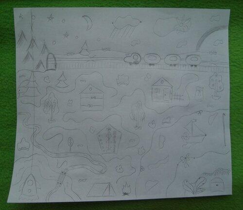 Развивающий коврик для детей Моулвиль... эскизы карандашом