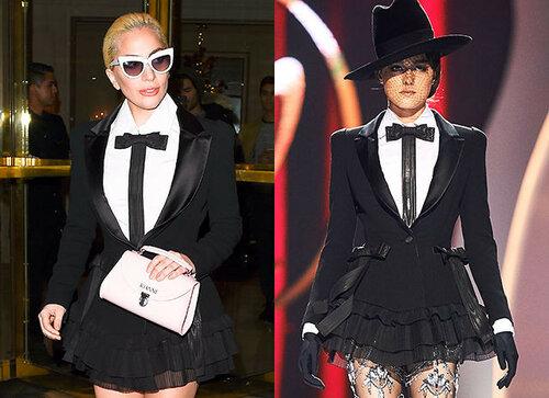 Леди Гага появившись на улицах Парижа в костюме от Юдашкина