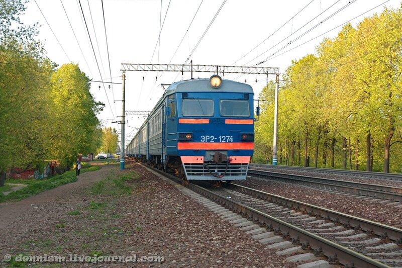 Электропоезд ЭР2-1274, участок Строитель - Мытищи.