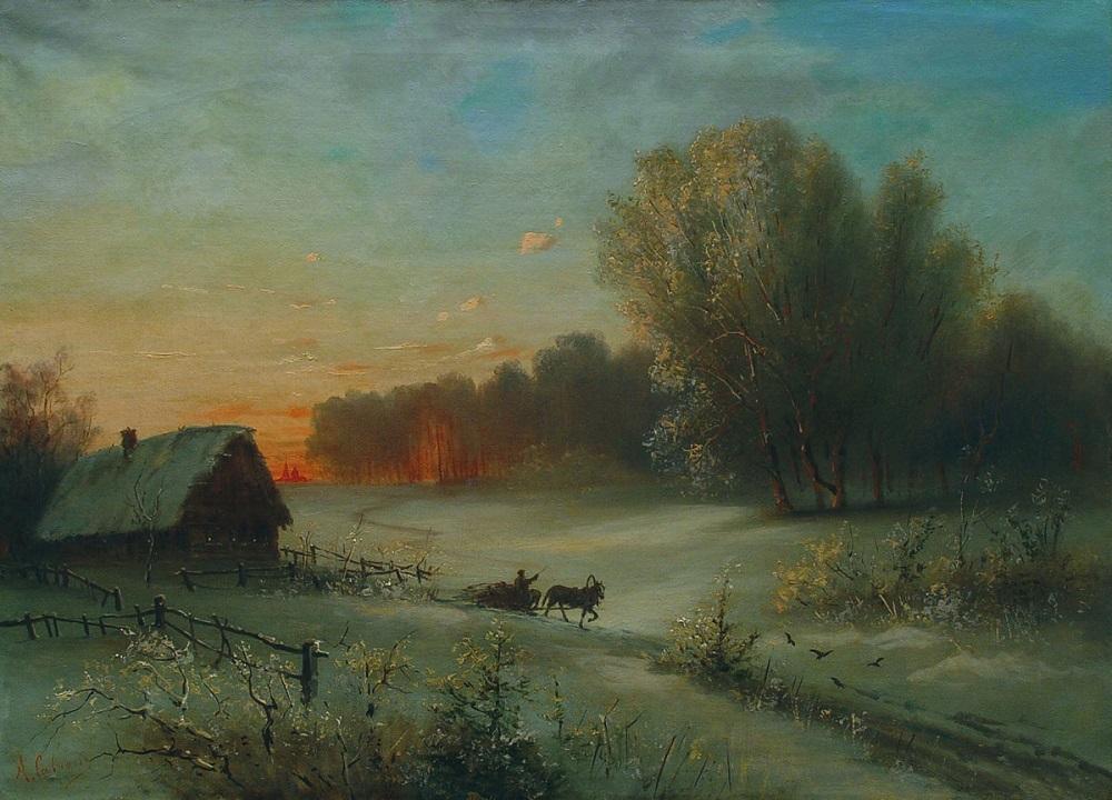 Зимний пейзаж с санями 1880-е  холст масло 57.5 х 80 см  Частное собрание.jpg
