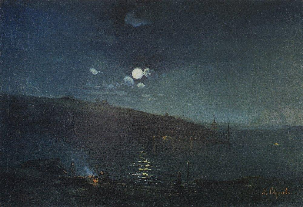 Лунная ночь. Пейзаж с костром, 1880-1890-е.jpg
