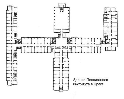 Здание Пенсионного института в Праге, план
