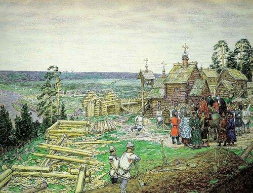 Строительство Московского Кремля. А. Васнецов.
