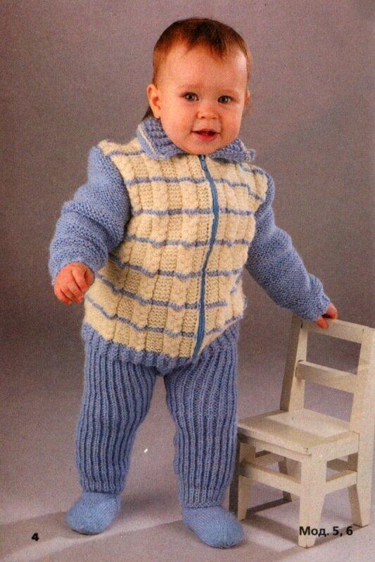 Описание вязания спицами бело-голубого комплекта для мальчика - жакет и штаны - на возраст 1-1,5 года.