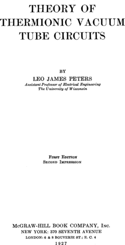 Theory of Thermionic Vacuum Tube Circuits - Leo James Peters - Book Cover