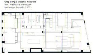 Greg Gong Victoria Australia 2003 план, квартира, камин, шкаф, лофт, интерьер, камин, кресло, свет, мебель, арх,