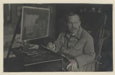 Б. М. Кустодиев за работой 1920-е гг. Фото Владимира Владимировича Преснякова