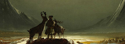 Landscape from Finnmark with Sámi and Reindeer, about 1850