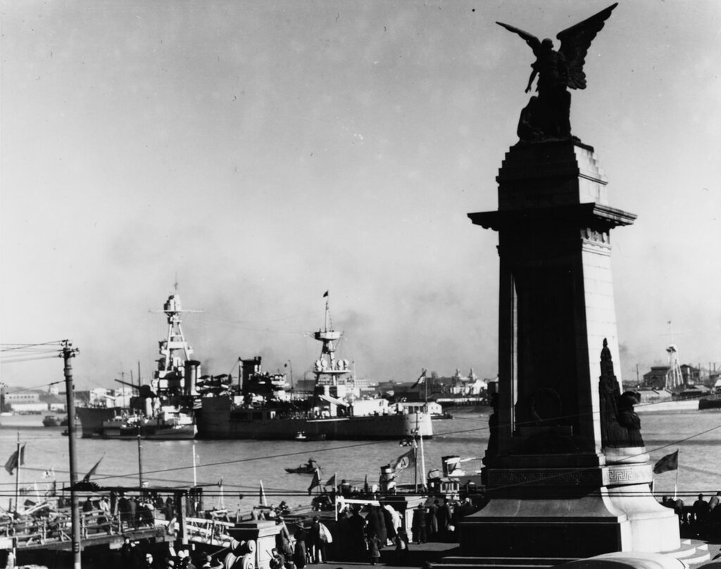 USS AUGUSTA (CA-31) At Shanghai, China 1937. Note U.S. gunboat alongside.