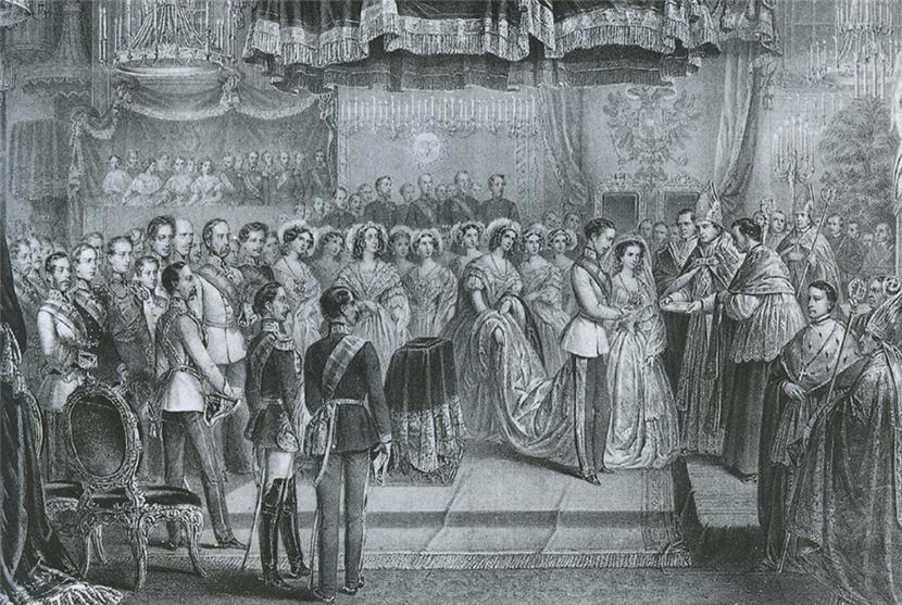 Свадьба Франца-Иосифа I и Элизабет 24 апреля 1854 года. Литография Винценца Кацлера, 1854..jpg