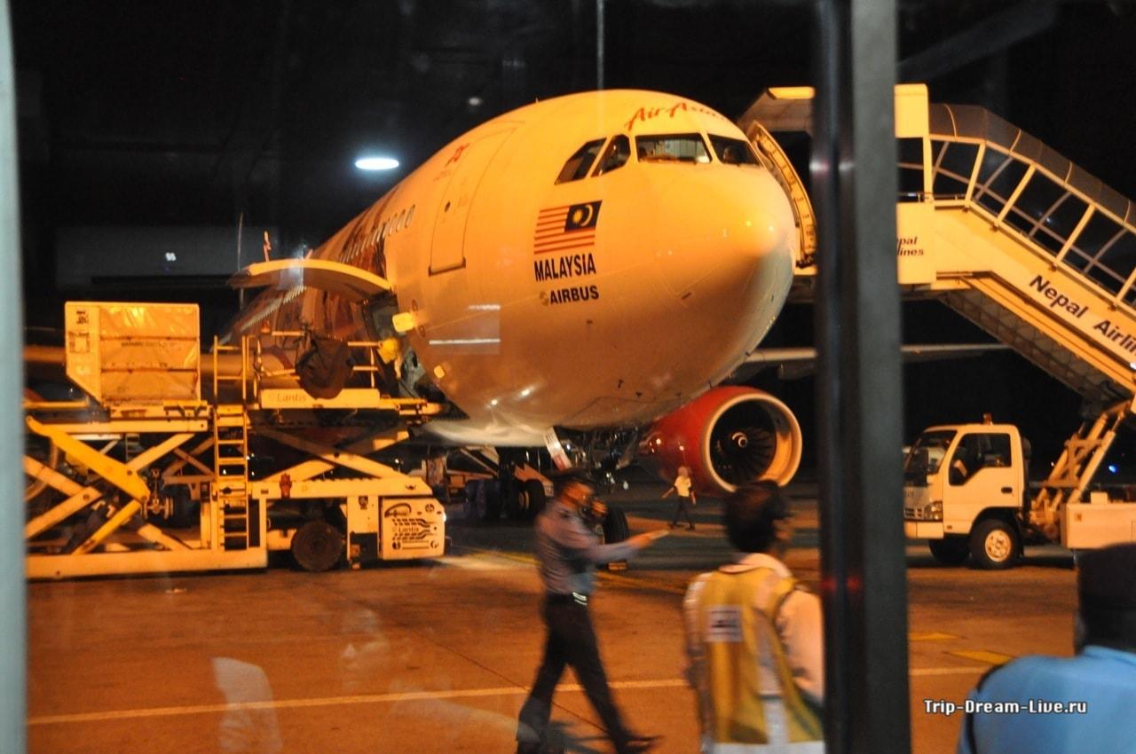 Наш самолет из Катманду в Куала-Лумпур