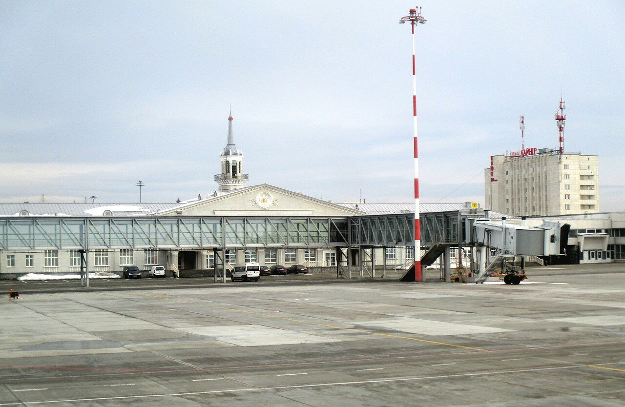 Koltsovo Airport. The old terminal building and the hotel Liner