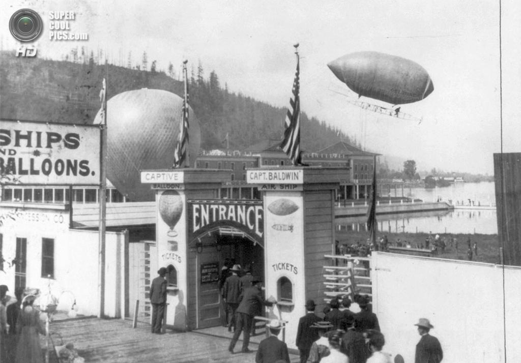 США. Портленд, Орегон. 1905 год. Мягкий дирижабль Томаса Скотта Болдуина на выставке, посвященно