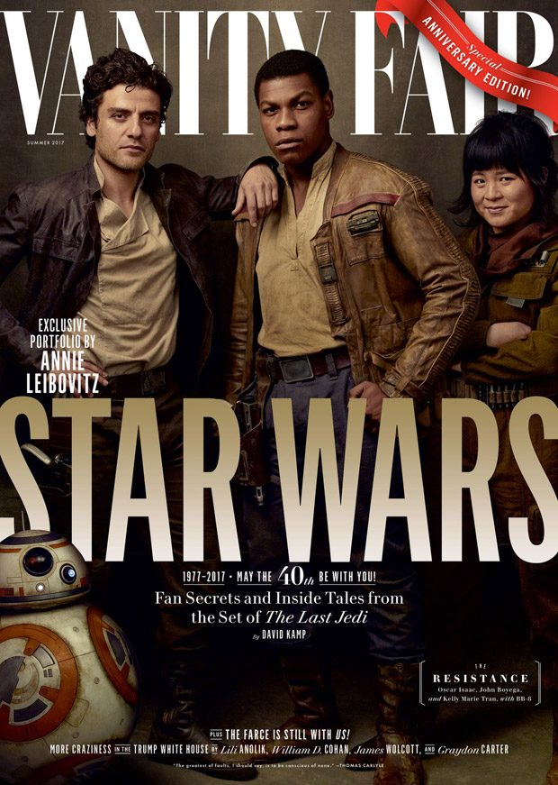 Oscar Isaac , John Boyega , and Kelly Marie Tran as the rebels Poe Dameron, Finn, and Rose Tico, wit