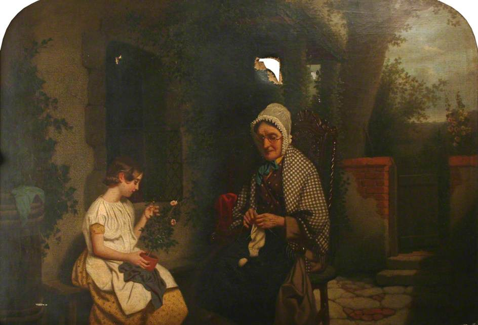 3 w e millner   An Old Woman Knitting and a Girl Holding a Pot Plant.jpg