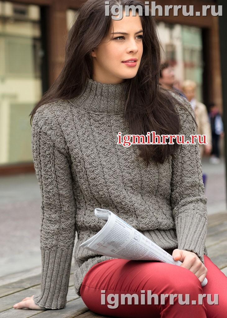 Теплый серый свитер с плетеным узором. Вязание спицами