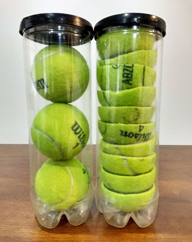 Если теннисные мячики занимают чересчур много места, можно аккуратно их уложить, разрезав на половин
