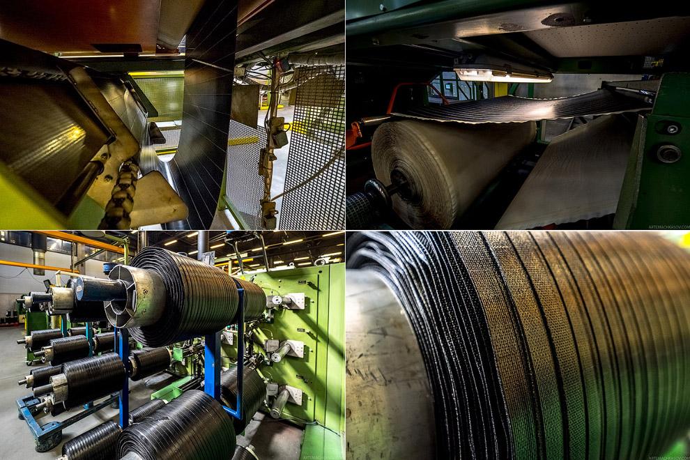 12. На линии по производству бортового кольца специальная машина обрезинивает стальную проволок