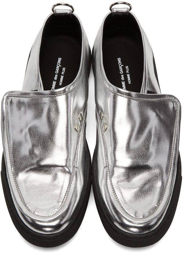 Comme des Garcons Homme Plus Silver Metallic Velcro Sneakers