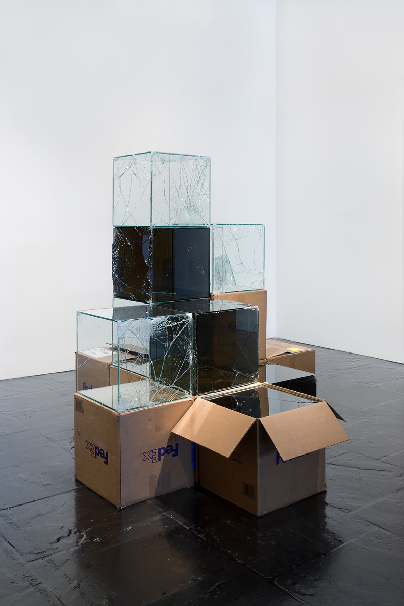 FedEx boxes (various) , 2008. Installation view, Signs of the Time, The Whitney Museum of American A
