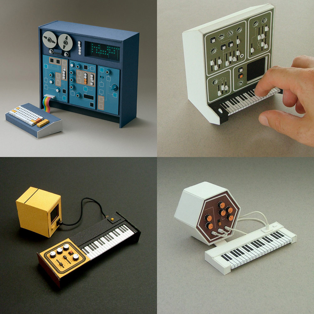Miniature Retro Papercraft Synthesizers by Dan McPharlin