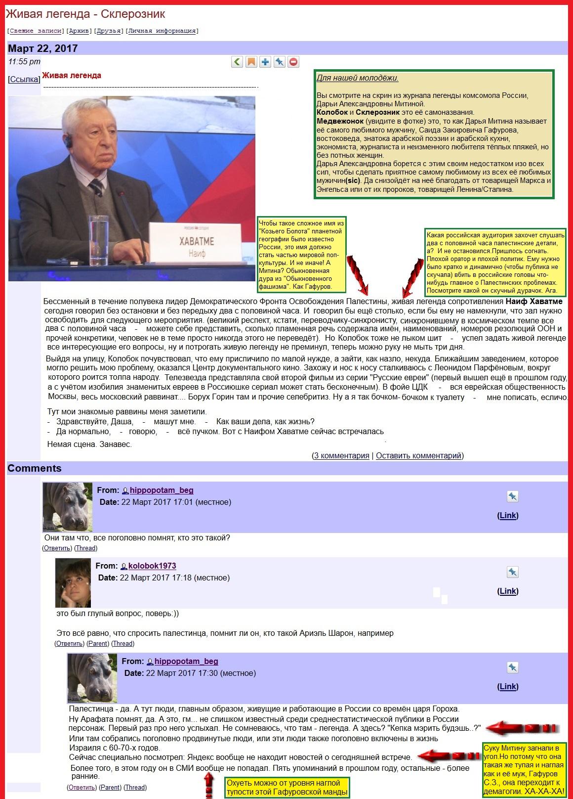 Митина лжёт. О палестинском малоизвестном в России лидере Хаиф Хаватма(1)