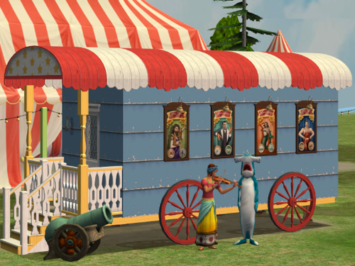 recolors of the roof pieces and wheel from Parsimonious' Wandering set and a circus wagon wall panel by shastakiss