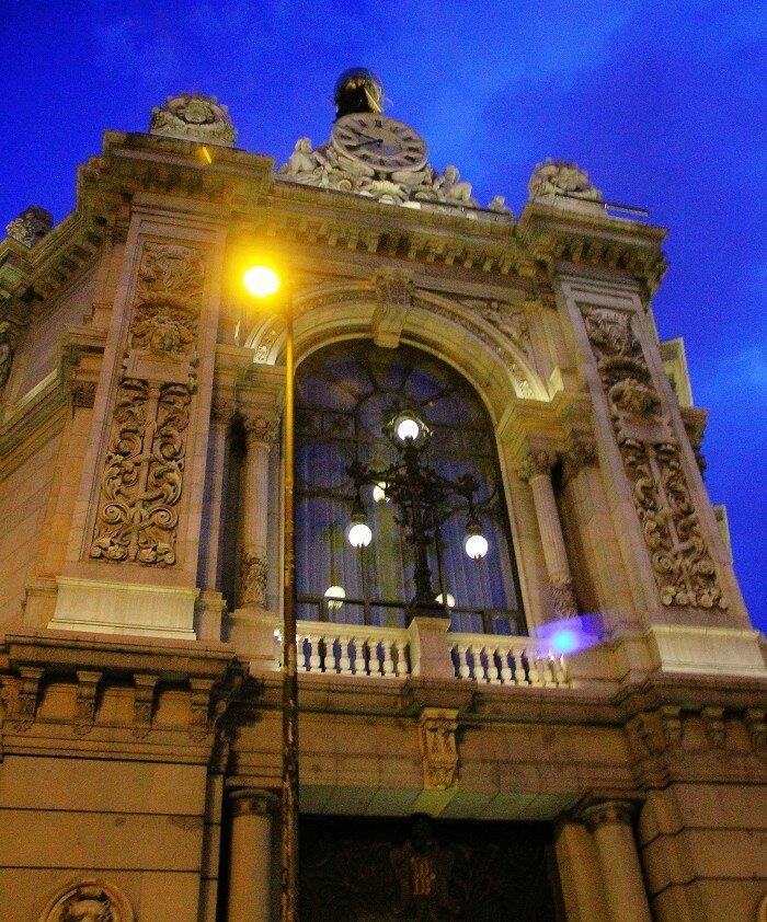 Вечерний Мадрид. Здание Национального банка Испании