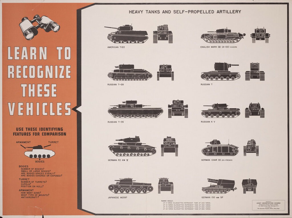 Learn to recognize these vehicles - heavy tanks and self-propelled artillery.