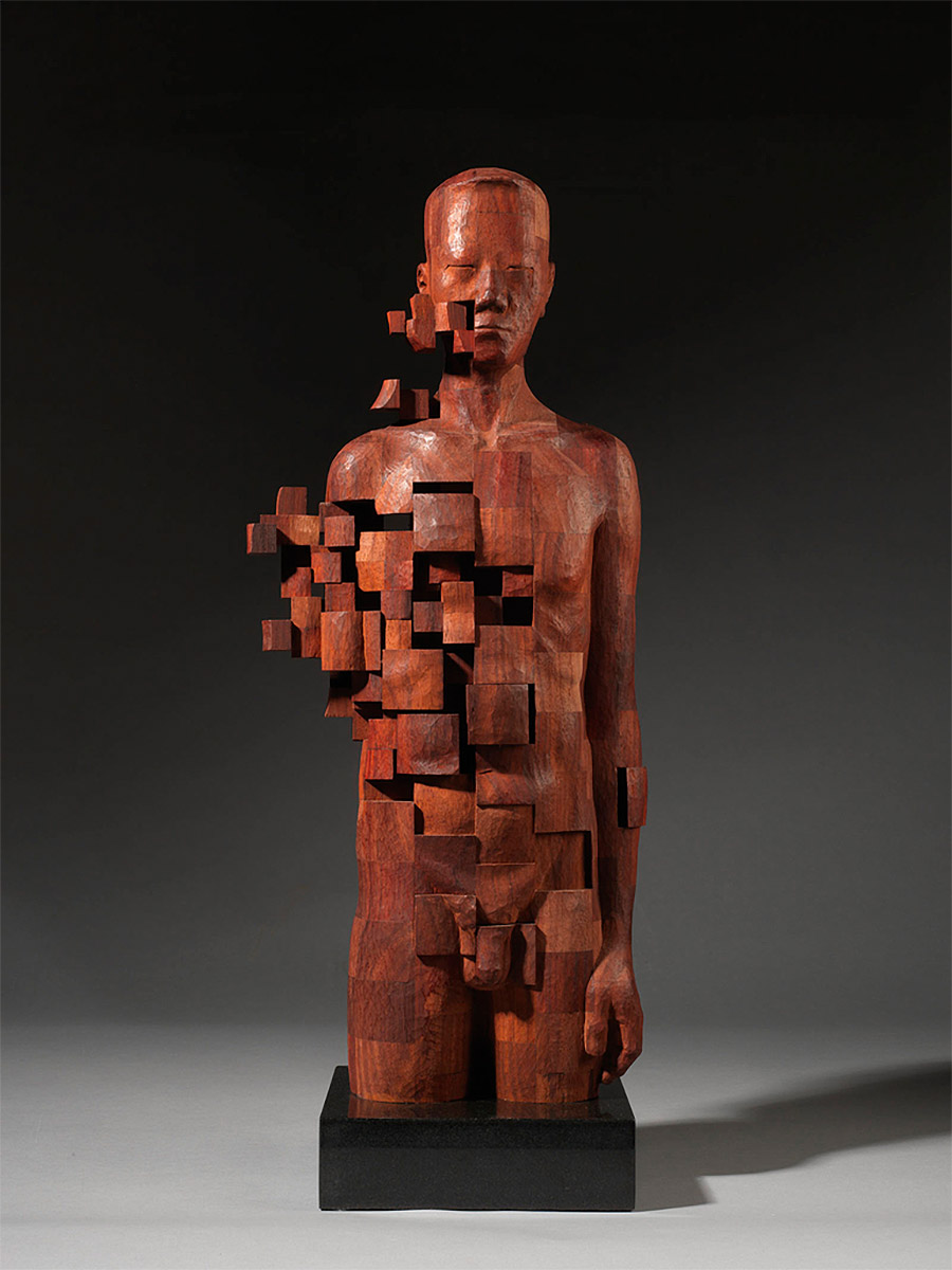 Dynamic Pixelated Wood Sculptures by Hsu Tung Han