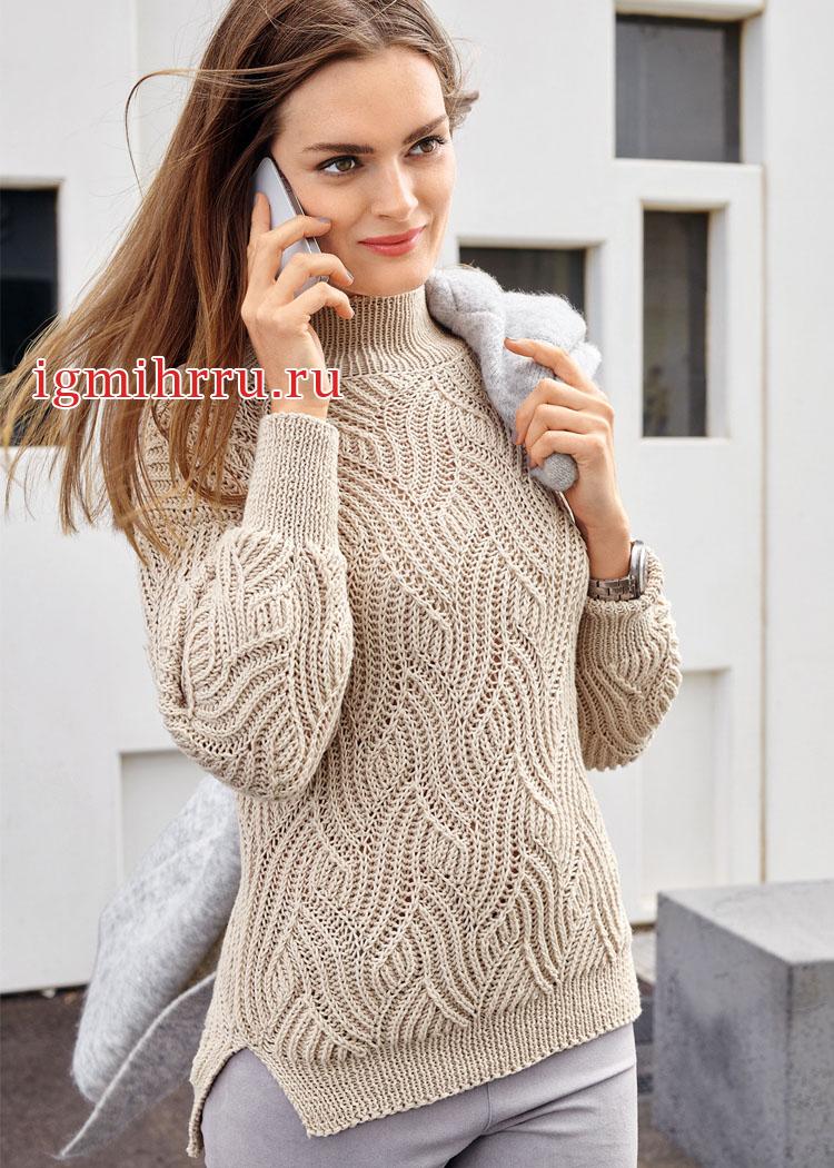 Кремовый свитер с рельефным волнообразным узором. Вязание спицами