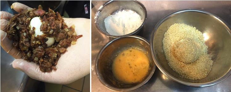 Шар из яйца и тушенки обвалять в муке, льязоне и панировочных сухарях