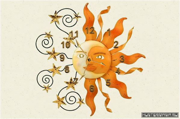 Флеш-часы для сайта Винтажное солнце