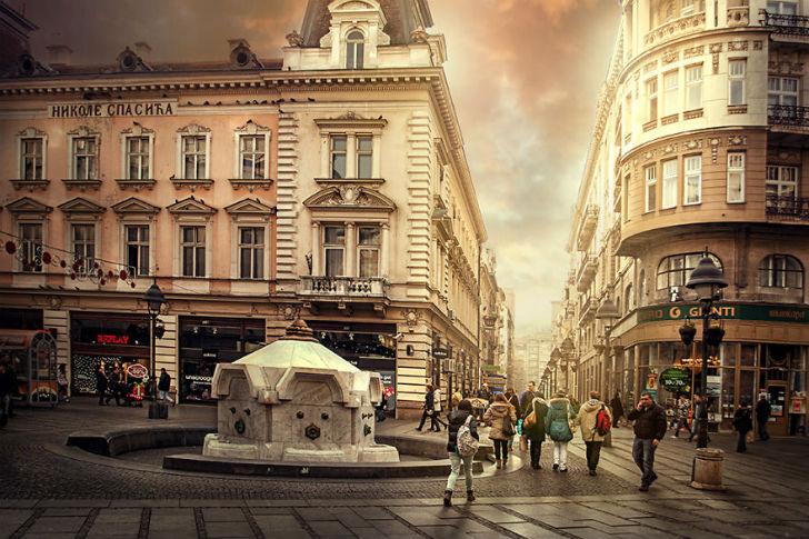 Фонтан на улице Князя Михаила.