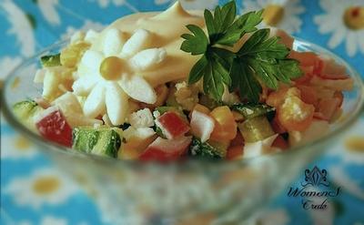 Салат из апельсина и крабовых палочек