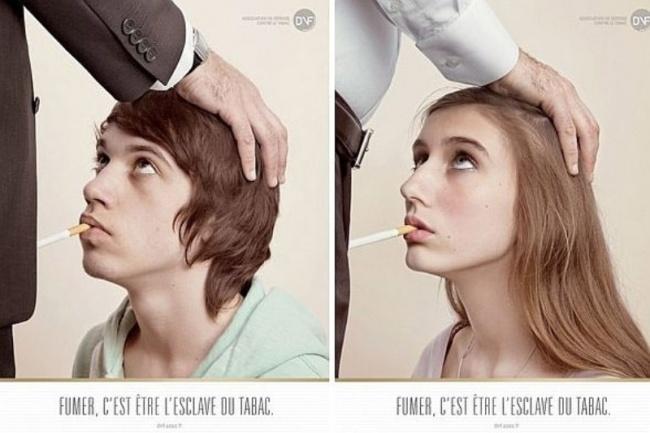 «Курить— значит быть рабом табака» Французская реклама поборьбе стабакокурением вызвала скандал и