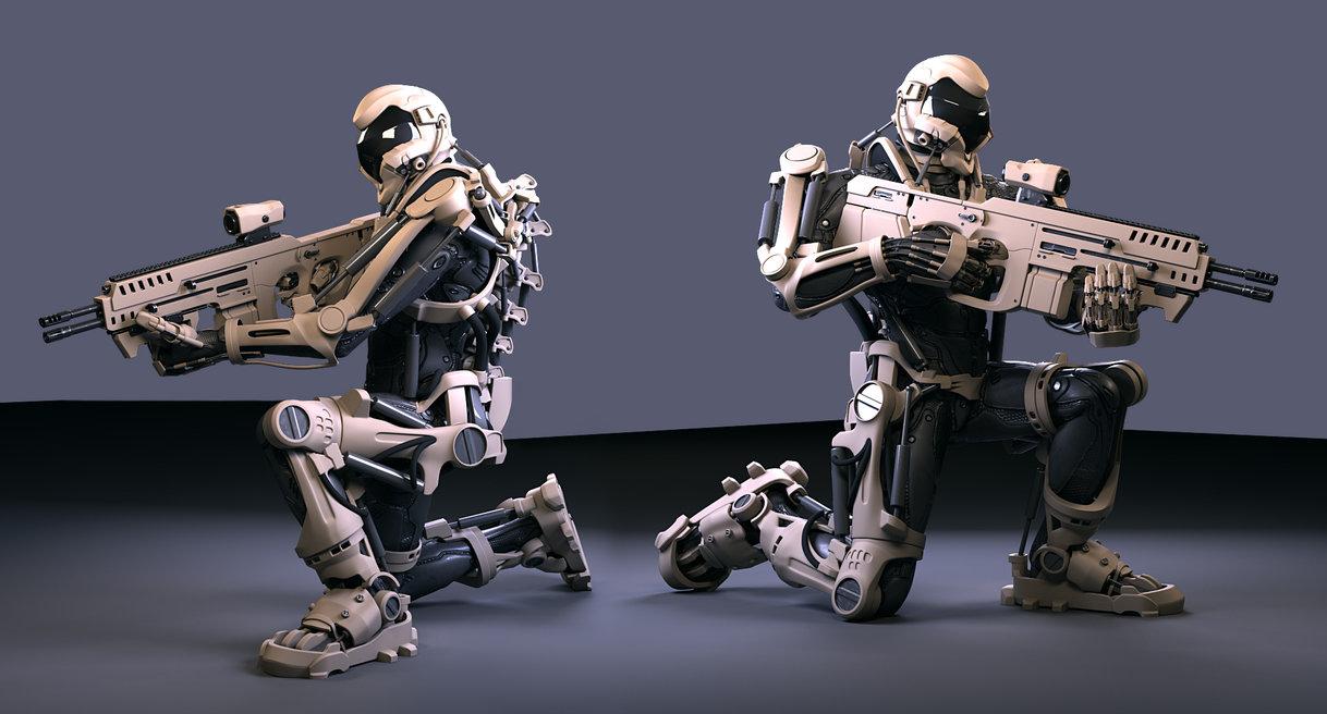 Солдаты объединенной армии Земли из фантастического боевика «Грань будущего», облаченные в устрашающ