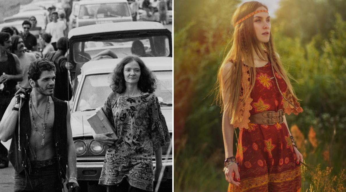Представители субкультуры, именуемой «хиппи», шествуют по забитой машинами дороге на концерт. / Деву