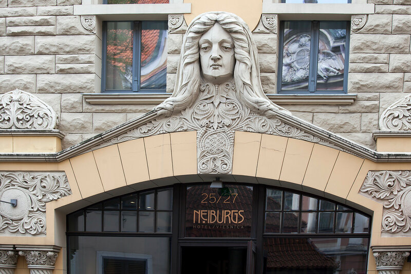 Art Nouveau facade decoration in Riga, Latvia on May 3 2015. Art nouveau architecture is one of Riga claims to fame.