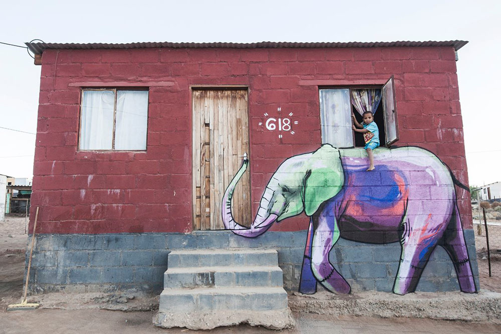 Garies, South Africa. 2015. Working with the iconic image of the elephant, South African artist Falk