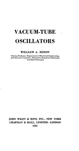 Vacuum Tube Oscillators - William A. Edson - Book Cover