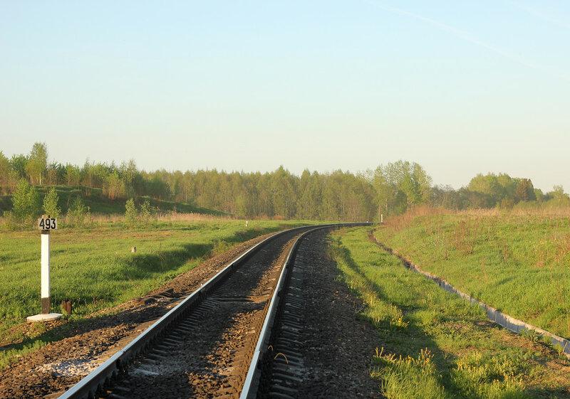 Перегон Гущино - Воробецкая, вид на Великие луки