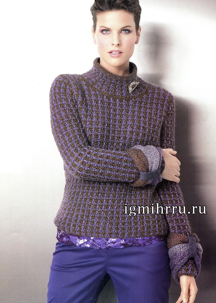 Джемпер с декоративными, отдельно связанными манжетами. Вязание спицами