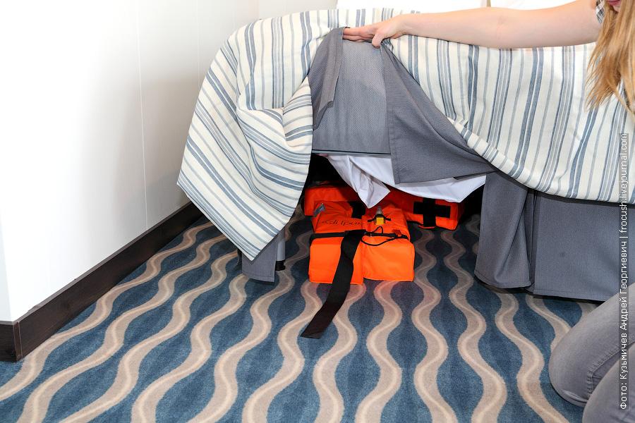 Спасательные жилеты расположены под двуспальной кроватью. Двухместный панорамный люкс №203 на палубе «Волга». теплоход «Александр Грин»